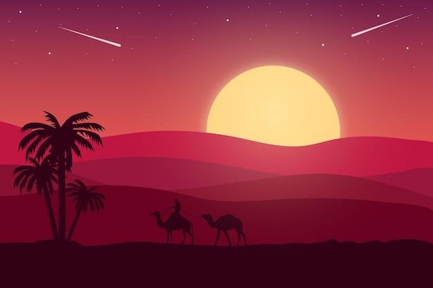 Płaski krajobraz pustynia w piękne popołudnie jest jaskrawoczerwona i brązowa