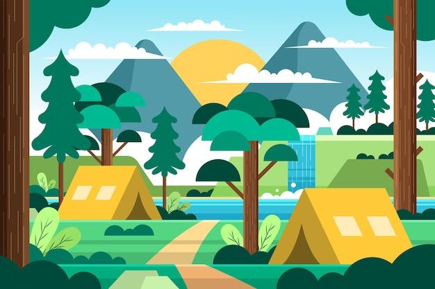 Płaski krajobraz terenu kempingowego z namiotami i lasem