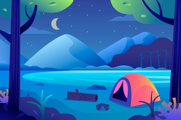 Płaski krajobraz terenu kempingowego z namiotem i górą w nocy