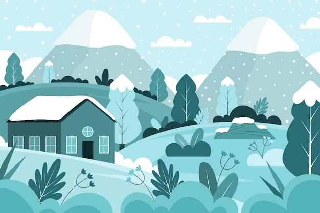 Płaski krajobraz w okresie zimowym