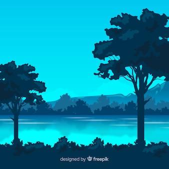 Płaski krajobraz z drzewami