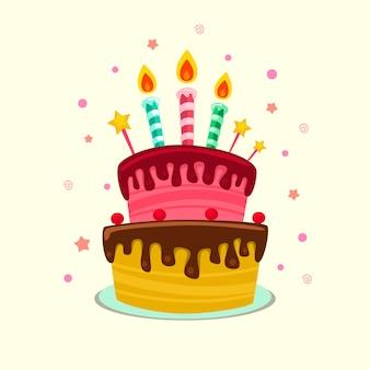 Płaski kreskówka na białym tle kolorowy tort urodzinowy szablon