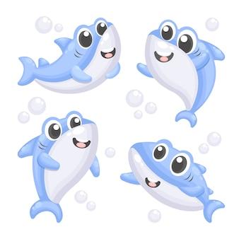 Płaski kształt baby shark niebieskie odcienie stylu cartoon