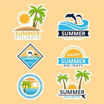 Płaski kształt kolekcji lato odznaki szablon