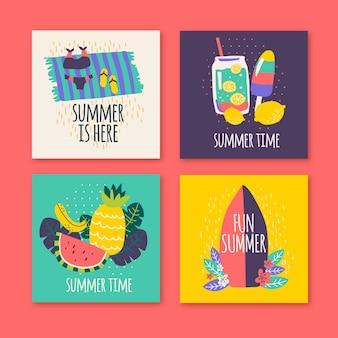 Płaski kształt lato zestaw szablonów kart