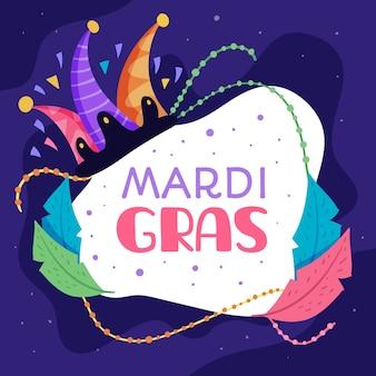Płaski kształt mardi gras z abstrakcyjnymi kolorowymi liśćmi