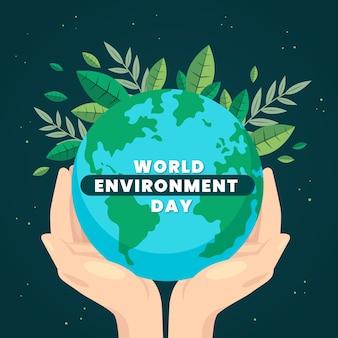 Płaski kształt świata dzień środowiska tło