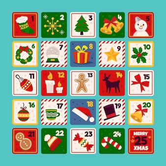 Płaski kształt świąteczny kalendarz adwentowy