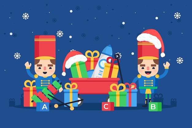 Płaski kształt zabawki świąteczne tło