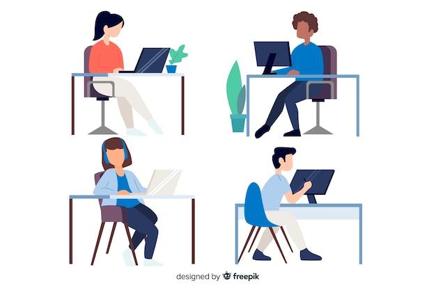 Płaski kształt znaków pracowników biurowych siedzi