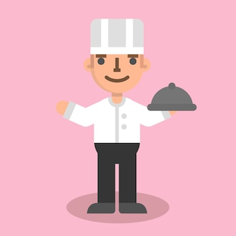 Płaski kucharz mężczyzna
