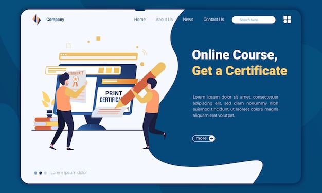 Płaski kurs online ilustracja i szablon strony docelowej certyfikatu