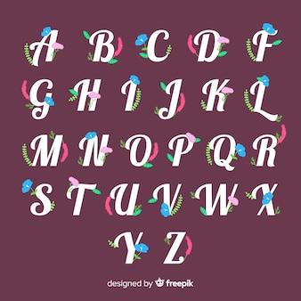 Płaski kwiatowy alfabet
