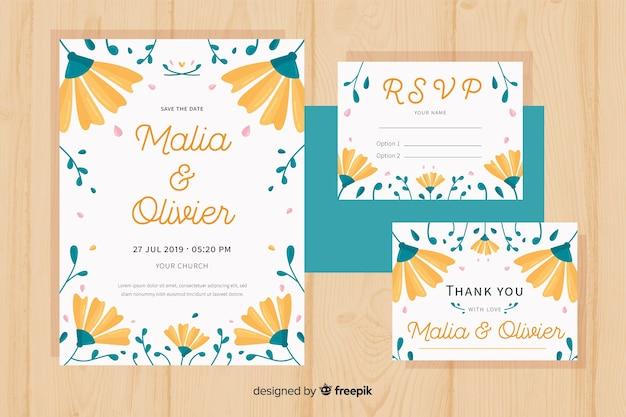 Płaski kwiatowy ślub szablon papeterii