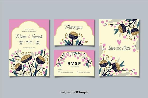Płaski kwiatowy wesele szablon papeterii