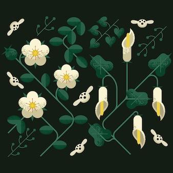 Płaski kwiatowy wzór z długim odgałęzieniem i cieniowaniem ziarna