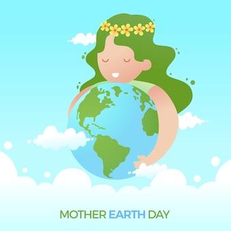 Płaski ładny dzień matki ziemi z dziewczyną przytulanie planety