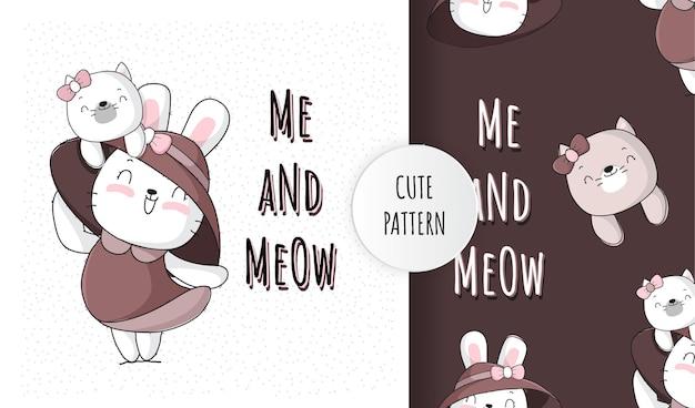 Płaski ładny króliczek zwierzęcy z ilustracją najlepszego przyjaciela dla dzieci