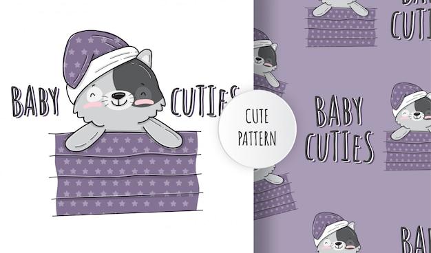 Płaski ładny mały kot śpiący wzór zwierzęcy ilustracja