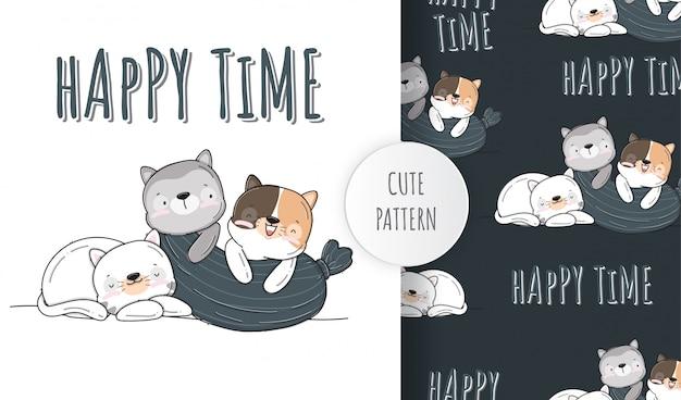 Płaski ładny mały kot zwierzę wzór ilustracja