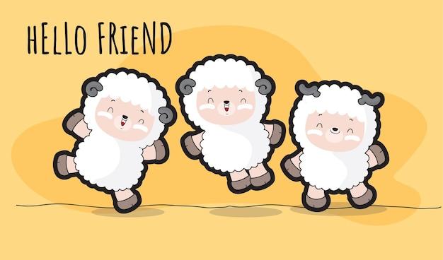 Płaski ładny zestaw ilustracji owiec dla dzieci