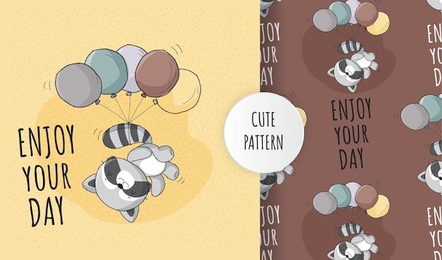 Płaski ładny zwierzęcy szop szczęśliwy latający z zestawem wzoru balonu