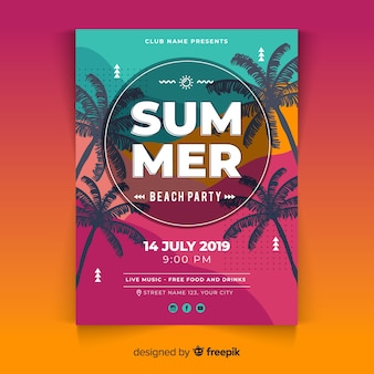 Płaski lato party plakat szablon