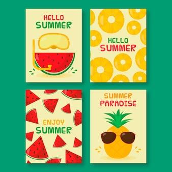 Płaski lato szablon paczki karty