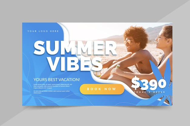 Płaski letni baner sprzedaży ze zdjęciem