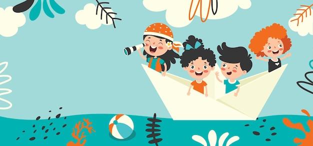 Płaski letni baner z postacią z kreskówek
