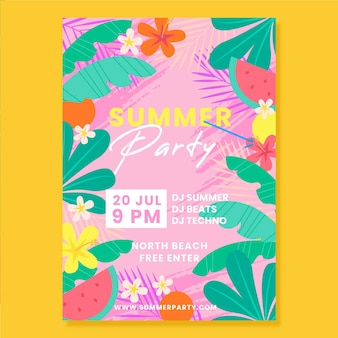 Płaski letni plakat party