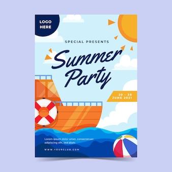 Płaski letni plakat pionowy szablon