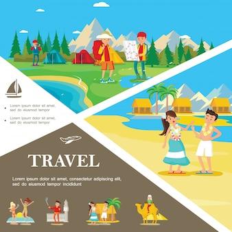 Płaski letni podróż kolorowy szablon z obozem turystycznym w lesie ludzie relaksują się na tropikalnej plaży na hawajach