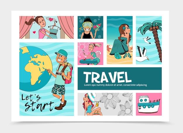 Płaski letni szablon podróży infografika z wesołym turystą w pobliżu kuli ziemskiej ładne kobiety relaksujące