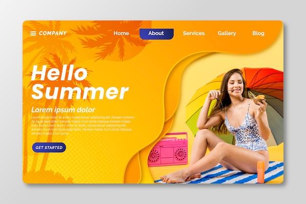 Płaski letni szablon strony docelowej ze zdjęciem