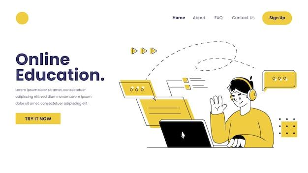 Płaski liniowy szablon strony docelowej do nauki online