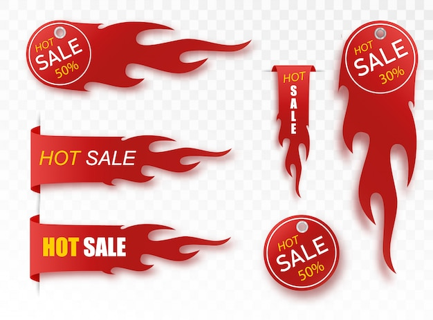 Płaski liniowy sztandar promocyjny ognia, metka, gorąca wyprzedaż, oferta, cena. zestaw ilustracji