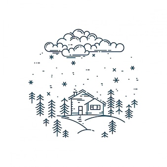 Płaski liniowy zimowy krajobraz w okrągłym składzie