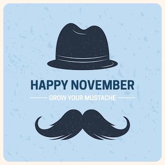 Płaski listopad z kapeluszem i wąsami
