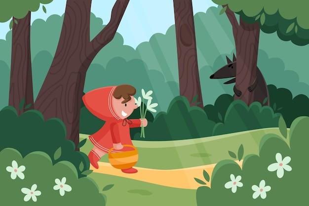 Płaski mały czerwony kapturek ilustracja