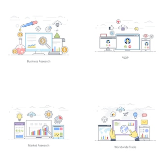 Płaski marketing finansowy ilustracja