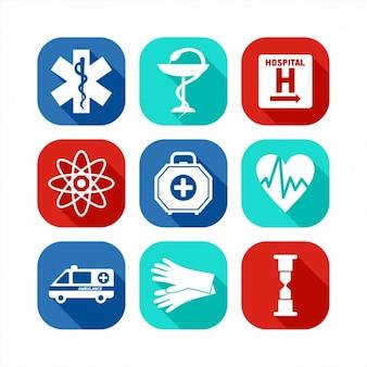Płaski medical icon set