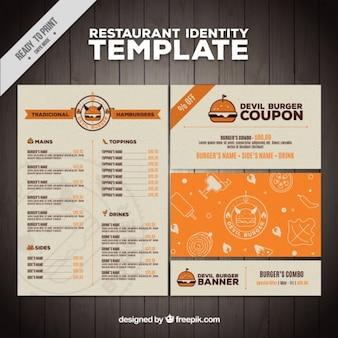 Płaski menu restauracji burger