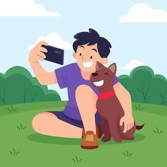 Płaski mężczyzna biorący selfie z psem