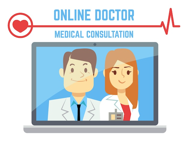 Płaski mężczyzna i kobieta online lekarz, internet komputer służby zdrowia