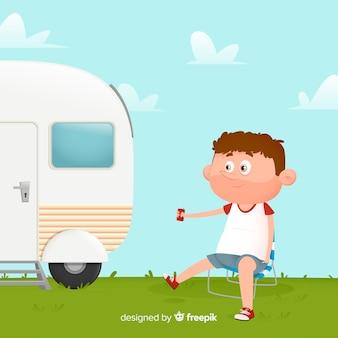 Płaski mężczyzna ilustrowany camping