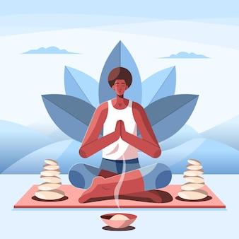 Płaski mężczyzna medytujący z kamieniami