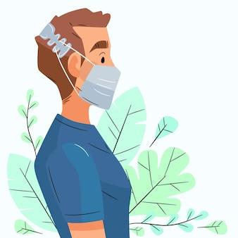 Płaski mężczyzna noszący regulowany pasek maski na twarz