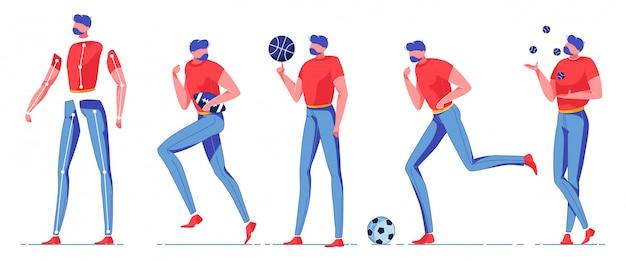 Płaski mężczyzna robi różne sportowe konstruktor.