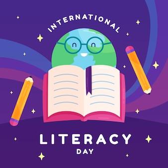 Płaski międzynarodowy dzień alfabetyzacji z książką